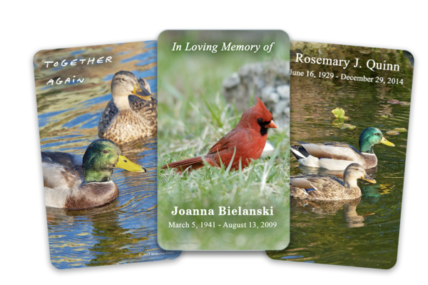 birds funeral cards