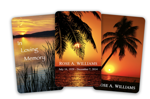 sunset funeral cards